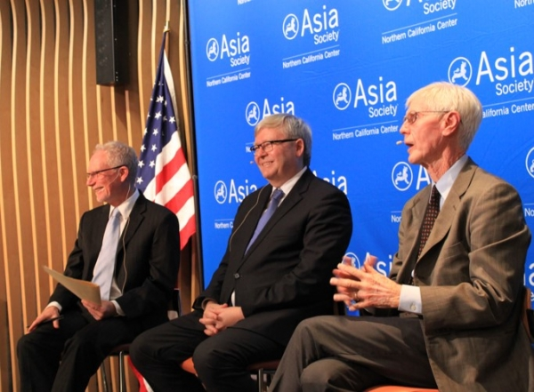 "On December 18, 2015, ASNC Executive Director N. Bruce Pickering moderated a discussion between The Honorable Kevin Rudd, President of the Asia Society Policy Institute, and Orville Schell, Arthur Ross Director of Asia Society's Center on U.S.-China Relations. ASNC partnered with the World Affairs Council of Northern California for this event titled ""The U.N. Climate Summit and the Future of U.S.-China Collaboration."" (Asia Society)"