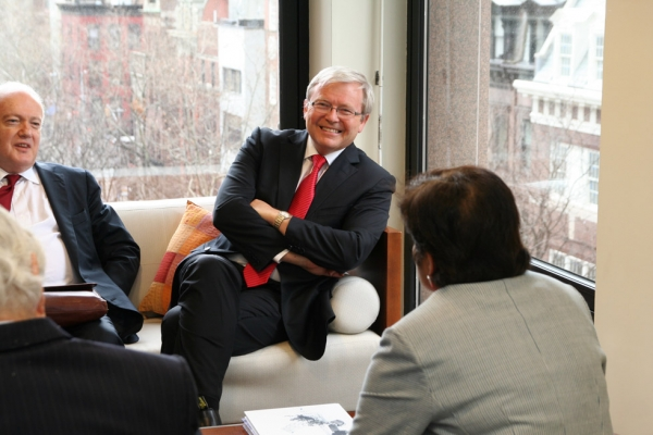 From left, Australian Permanent Representative to the UN Gary Quinlan, Australian Foreign Minister Kevin Rudd and Asia Society President Vishakha Desai. (Asia Society/Bill Swersey)