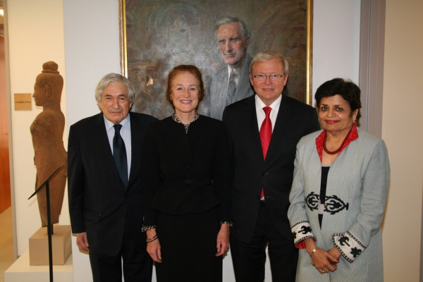 From left, Asia Society Trustee James Wolfensohn, Asia Society Co-Chair Henrietta Fore, Australian Foreign Minister Kevin Rudd and Asia Society President Vishakha Desai. (Asia Society/Bill Swersey)