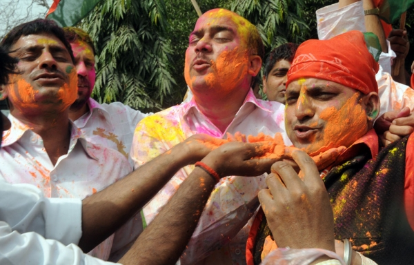 India's Samjwati Party (SP) workers celebrate their victory in the state elections at their party office in New Delhi on March 6, 2012. (Raveendran/AFP/Getty Images)
