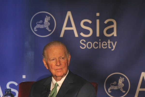 Former U.S. Secretary of State James A. Baker III in Houston on Thursday, April 12, two days before the grand opening of the Asia Society Texas Center. (Bill Swersey/Asia Society)