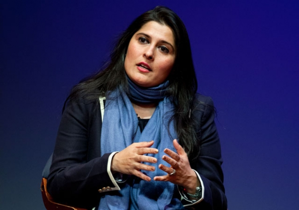 Documentary filmmaker Sharmeen Obaid-Chinoy, just named one of Time Magazine's 100 most influential people, speaking at Asia Society New York on Mar. 5, 2012. (Suzanna Finley/Asia Society)