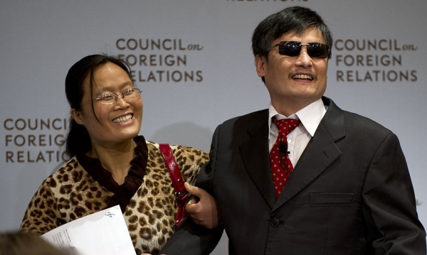 Chinese dissident Chen Guangcheng (R) arrives at the Council on Foreign Relations with his wife Yuan Weijing on May 31, 2012 in New York. (Don Emmert/AFP/GettyImages)