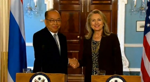 U.S. Secretary of State Hillary Rodham Clinton delivers remarks with Thai Foreign Minister Dr. Surapong Tovichakchaikul at the Department of State in Washington, D.C. on June 13, 2012. (YouTube)