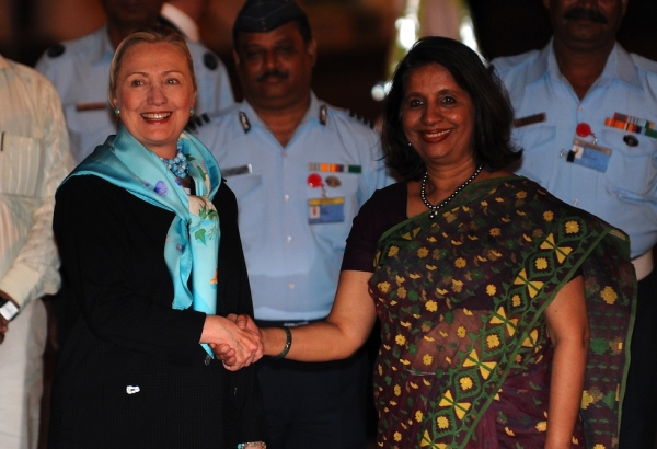 U.S. Secretary of State Hillary Clinton (L) shakes hands with then-Indian Foreign Secretary Nirupama Rao (R) in New Delhi on July 18, 2011. Rao is now India's Ambassador to the United States. (Prakash Singh/AFP/Getty Images)