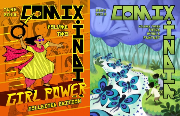 Volumes Two and Three of 'Comix.India,' a black-and-white anthology of alternative comics launched in 2010.