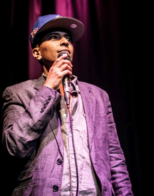 Master of ceremonies D'Lo at the Nuyorican Poets Cafe on August 12, 2012. (Neha Gautam Photography)