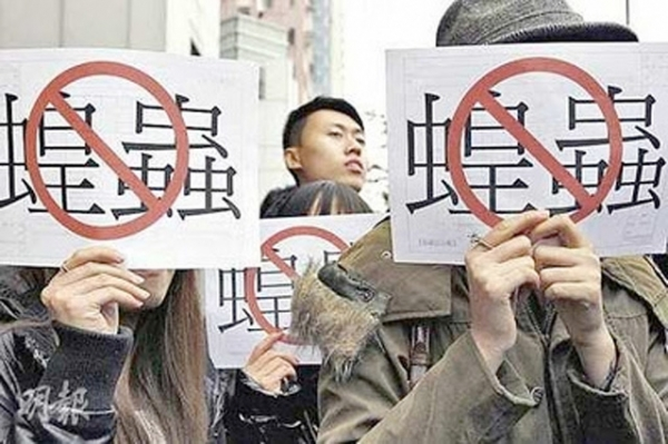 "Hong Kong protesters holding up signs that say ""No Locusts"" at a demonstration earlier in 2012. (hkpao.com)"