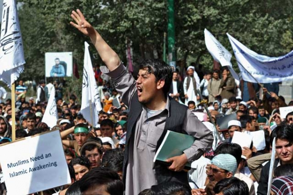 An Afghan youth shouts at an anti-U.S. protest in Kabul on Sept. 16, 2012, when students poured into the streets of Kabul to protest a film mocking Islam that has also sparked deadly riots in the Middle East and North Africa. (Massoud Hossaini/AFP/GettyImages)