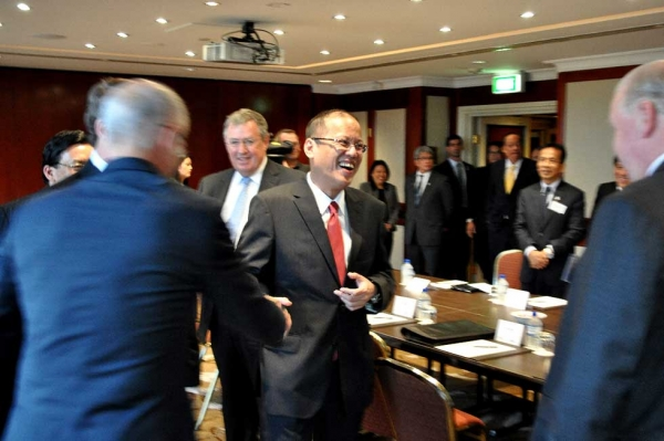 Philippines President Benigno Aquino III participated in the Asia Society Australia / Australia Philippines Business Council Roundtable then followed with a keynote address in Sydney on October 25, 2012. (Ian Lever)