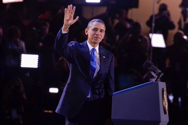President Barack Obama waves during the election night rally at McCormick Place in Chicago, Illinois, on November 6, 2012. (Kevin Gebhardt/Flickr)