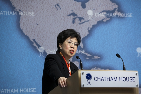 Dr. Margaret Chan of the World Health Organization speaks at Asia Society Hong Kong on Dec. 20. (Chatham House/Flickr)