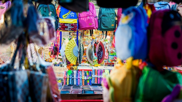 Colorful knickknacks line the stall of a night market in Singapore on January 18, 2013. (kodomut/Flickr)