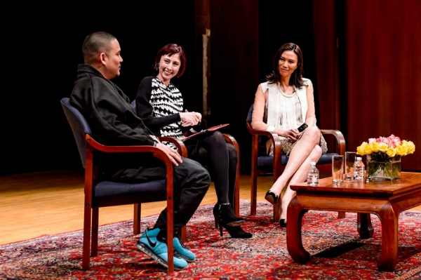 L to R: Video artist Kenzo Digital, Asia Society Museum Director Melissa Chiu, and co-CEO of Big Feet Productions Wendi Murdoch in discussion at Asia Society New York on March 4, 2013. (C. Bay Milin/Asia Society)