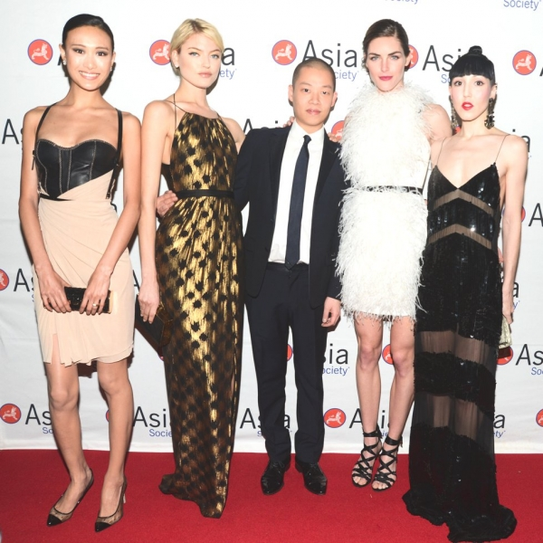 L to R: Shu Pei, Martha Hunt, Jason Wu, Hilary Rhoda, and Michelle Harper at Asia Society's Celebration of Asia Week benefit gala at The Pierre in New York City on Monday, March 18, 2013. (Joe Schildhorn/BFAnyc.com)