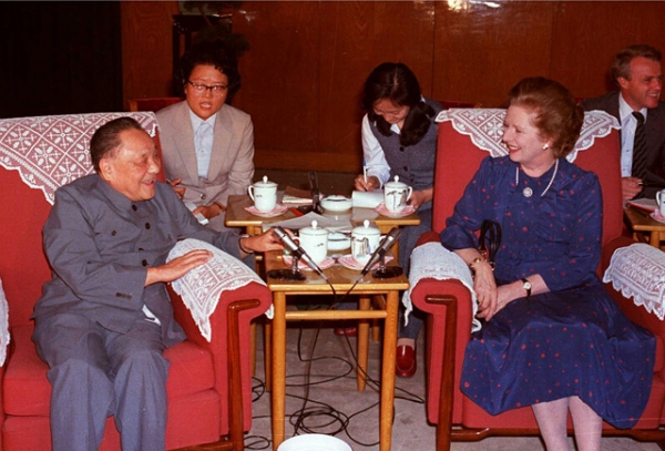Margaret Thatcher and Deng Xiaoping in discussion in Beijing on September 24, 1982 during a meeting that eventually lead to the signing of the Sino-British Joint Declaration on the future of Hong Kong. The former British prime minister passed away on April 8, 2013. (STR/AFP/Getty Images)
