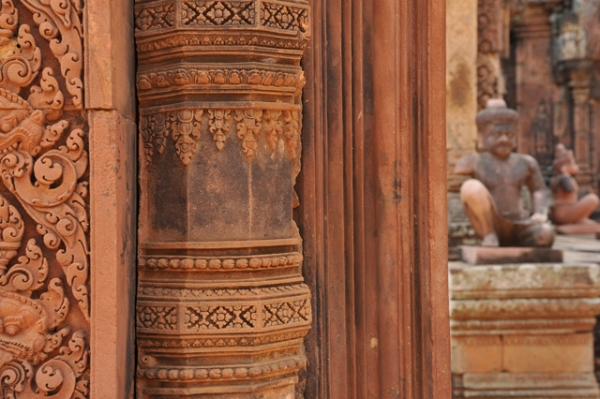 An intricately carved column stands in the Angkor Wat Temple in Siem Reap, Cambodia on March 4, 2013.
