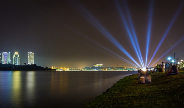 Laser lights brighten the night sky in Putrajaya, Malaysia on August 30, 2013. (Jeffrey Goh/Flickr)
