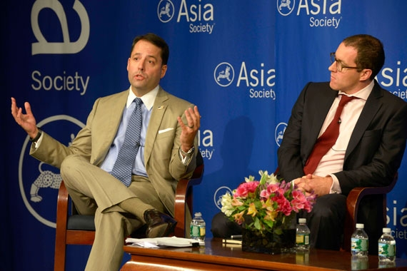 "Chad C. Sweet (L) is Co-Founder and CEO of the Chertoff Group, an advisory firm and investment bank focused on the security sector; Thomas Rid (R) is the author of ""Cyber War Will Not Take Place."" (Elsa Ruiz/Asia Society)"