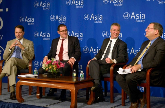 L to R: Chad Sweet, Thomas Rid and William Plummer joined moderator David Sanger for a panel on cyber security at Asia Society New York on Sept. 16, 2013. (Elsa Ruiz/Asia Society)