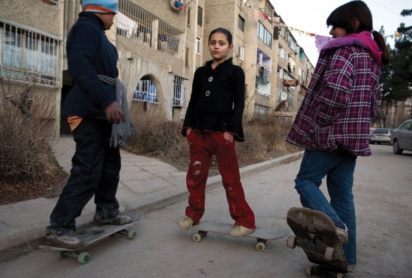 2009: Afghan children skateboarding near their homes. After decades of war, many Afghan youth badly need an option for recreation. (Paula Bronstein/Getty Images)