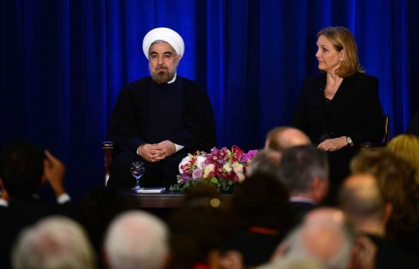Following his address, President Rouhani sat down for a Q & A session with Asia Society President Josette Sheeran. (Emmanuel Dunand/AFP/Getty Images)
