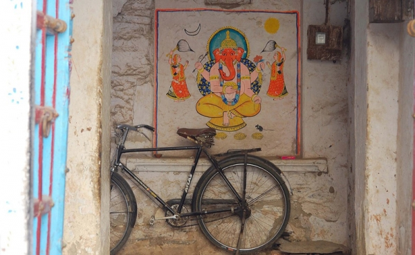 A painting of Lord Ganesha guards an entryway in Mumbai. (Angeline Thangaperakasam and Michael Newbill/Asia Society India Centre)