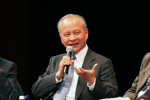 Cui Tiankai, China's Ambassador to the U.S., responds to a question during a panel discussion at Asia Society in New York on Tuesday, April 8, 2014. (Ellen Wallop/Asia Society)