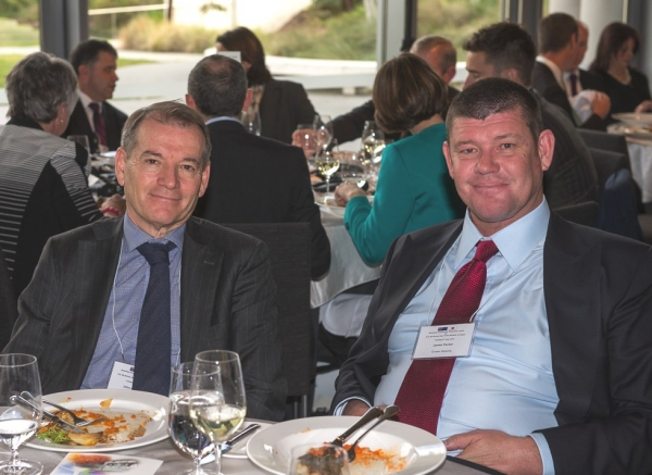 John Alexander, Deputy Chairman, Crown Resorts with James Packer, Chairman, Crown Resorts. (Irene Dowdy)