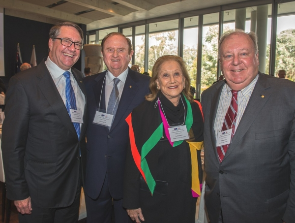 The Hon Warwick Smith AM, Chairman, Asia Society Australia with John Gandel AO, Chairman, Gandel Group of Companies; Pauline Gandel, Company Director, Gandel Group of Companies and Ross Adler AC, Chairman & CEO, Amtrade International. (Irene Dowdy)