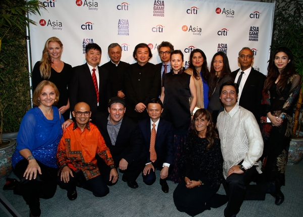 L to R: (standing) Whitney Kroenke, Zhang Minxuan, Madhav Chavan, Shigeru Ban, Saad Mohseni, Miki Higasa, Sharmeen Obaid-Chinoy, Kikka Hanazawa, Pawan Sinha, Shiza Shahid; (seated) Josette Sheeran, Indonesian Ambassador to the UN Desra Percaya, Mark Johnson, Jack Ma, Julie Gilhart, and Illac Diaz. (Jimi Celeste/Patrick McMullan)