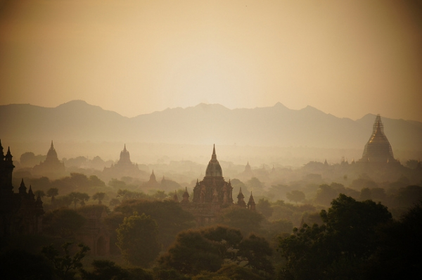 The sunrises over pagodas scattered around Bagan, Myanmar on October 7, 2014. (Rajesh_India/Flickr)