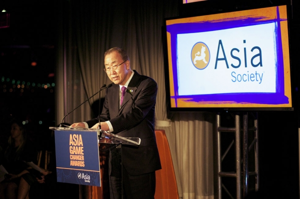 United Nations Secretary General Ban Ki-moon offering his congratulations to the Asia Game Changer award winners on Oct. 16, 2014. (Ann Billingsley/Asia Society)