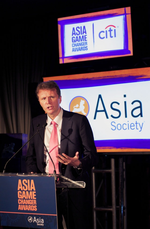 Stephen Bird, Chief Executive Officer for Citi Asia Pacific, introduced the award for Malala Yousafzai. (Ann Billingsley/Asia Society)