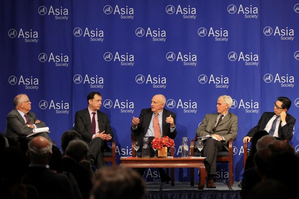 (L to R) Marshall Bouton, Daniel H. Rosen, John S. (Jack) Wadsworth, Jr., Orville H. Schell, and Xiaobo Lü discuss likely outcomes of China's economic reforms for American policy and business.