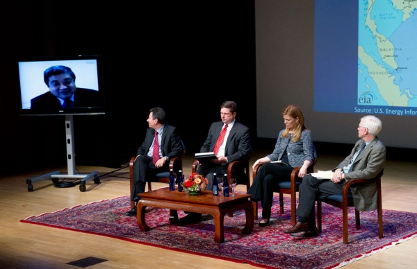 L to R: Zha Daojiong (on monitor), Robert D. Kaplan, Peter Dutton, Holly Morrow, and Orville Schell at Asia Society New York on Nov. 12, 2014. (Elena Olivo/Asia Society)