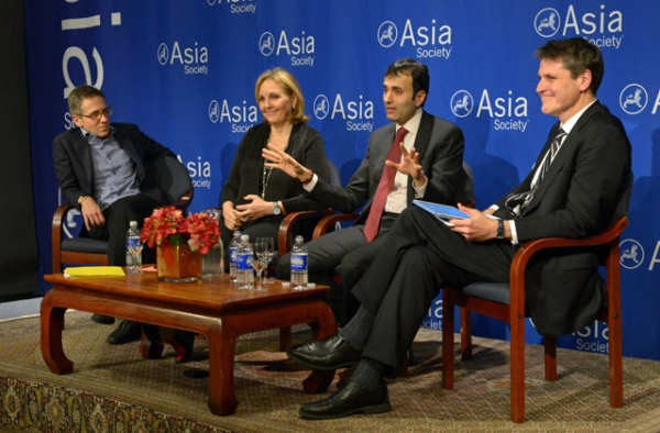 L to R: Ian Bremmer, Josette Sheeran, Ruchir Sharma, and Tom Nagorski at Asia Society New York on December 17, 2014. (Elsa Ruiz/Asia Society)