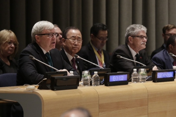 ASPI President Kevin Rudd, UN Secretary-General Ban Ki-moon, and UN General Assembly President Mogens Lykketoft during the high-level debate on international peace and security on October 1, 2015. (Evan Schneider/UN Photo)