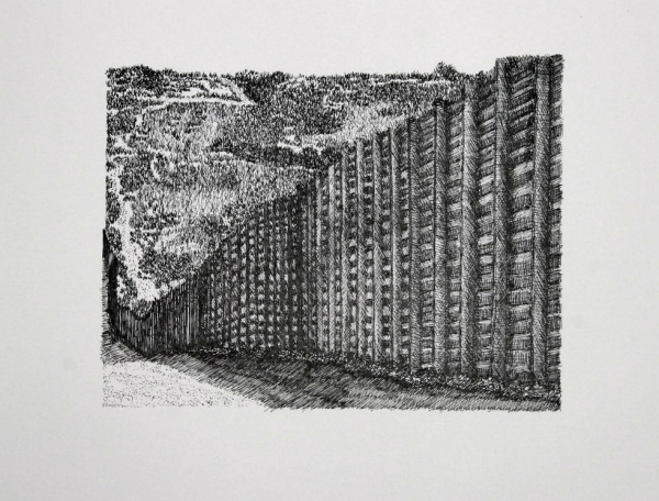 Blane De St. Croix, U.S./Mexico Border No. 9, 2009, Ink on paper, Courtesy of the artist