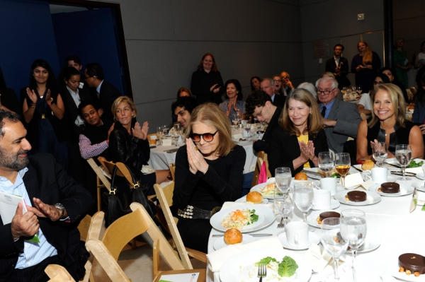 Feminist icon Gloria Steinem, President and CEO of the Skoll Foundation Sally Osberg, and newscaster Katie Couric watch Malala's speech. (Elena Olivo/Asia Society)