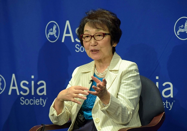 Former Japanese Minister of the Environment and former Minister for Foreign Affairs Yoriko Kawaguchi discusses why Japan turned to renewable energy. (Elsa Ruiz/Asia Society)
