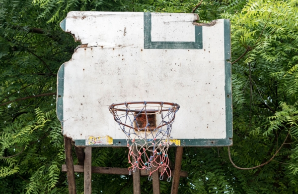 Basketball backboards are made from whatever makeshift materials are available. Cebu, Philippines. (Richard James Daniels)
