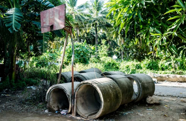 In the Philippines, one of the first structures to get built on a construction site is a basketball hoop. Cebu, Philippines. (Richard James Daniels)
