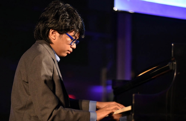 Joey Alexander performs at the Asia Society Asia Game Changers awards at the United Nations in New York on October 27, 2016. (Jamie Watts/Asia Society)