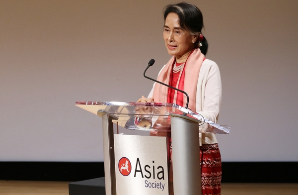 HE Daw Aung San Suu Kyi of Myanmar gives remarks on her country's development and continued way forward at Asia Society New York on September 21, 2016. The event was part of a series of discussions in conjunction with the United Nations General Assembly. (Asia Society/Ellen Wallop)