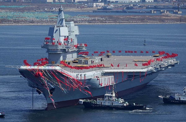 China's second aircraft carrier during a launch ceremony at Dalian shipyard on April 26, 2017. (STR/AFP/Getty)