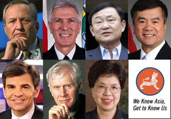 Clockwise, from top left: Larry Summers, Samuel J. Locklear III, Thaksin Shinawatra, Gary Locke, George Stephanopoulos, Orville Schell, and Margaret Chan.