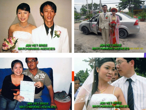 A screenshot from J&N Viet-Bride's website showcases couples who met through the Singapore-based matchmaking service. (jnvietbride.com.sg)