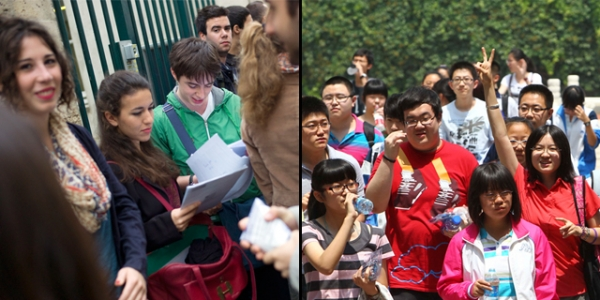 L: French students at the Lavoisier high school in Paris on June 18, 2012. (Fred Dufour/AFP/GettyImages) / R: Chinese students after finishing the first day of the gaokao in Beijing on June 7, 2012. (STR/AFP/GettyImages)