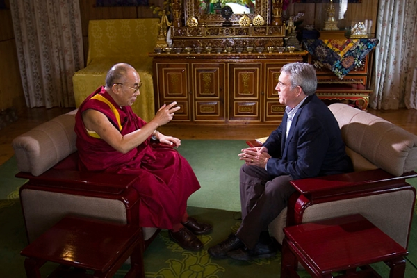 Dan Rather interviews the Dalai Lama at his residence-in-exile in Dharamsala, India, in July 2007. (DanRather.com)